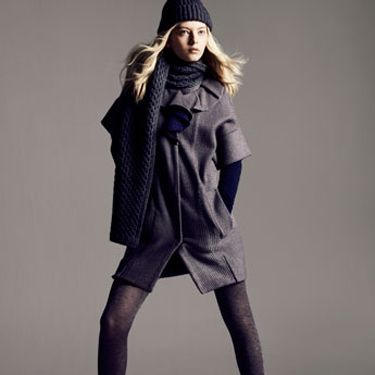 Long cardigan, Plastic Island, $174&#x3B; tights, Wolford, $42&#x3B; boots, Fendi&#x3B; hat, Loro Piana, $210&#x3B; scarf, Christopher Fischer, $220