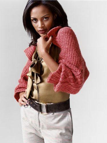 Shrug, United Colors of Benetton, $79; blouse, Dolce &  Gabbana; pants, Nautica, $79; necklace, Miriam Haskell, $360; belt, Loro Piana, $550.