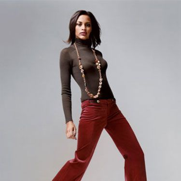 Turtleneck and pants, Gucci&#x3B; boots, Vicini&#x3B; necklace, Miriam Haskell