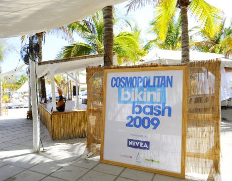 Lots of Bikini Bash signage all around Nikki Beach.
