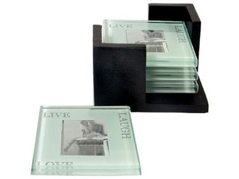 "Personalize a set of glass coasters for with photos of friends and loved ones. Holds a 2"" x 2"" photo.  at <a href=""http://www.patinastores.com/Products/Picture_Coaster_Set_069466.cfm""target=""_blank"">patinastores.com</a>"
