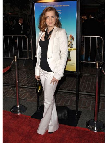 Amy's already looking to spring fashion with this crisp, white pantsuit at the L.A. premiere of <i>Sunshine Cleaning.</i>