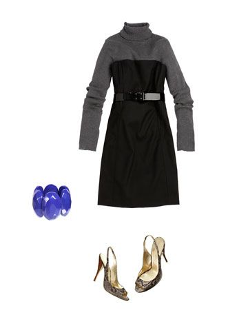 Layering is a huge trend this season. Tuck a thin gray turtleneck under the dress for a warmer, more casual look.