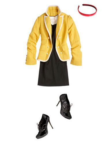 A yellow blazer, a red headband, and patent lace-up oxfords give the dress a preppy twist.