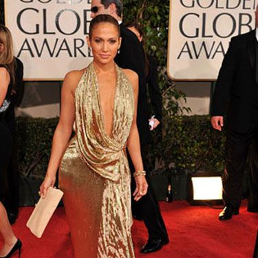 J.Lo sported her signature deep V-neck look in a dress designed by Marchesa.