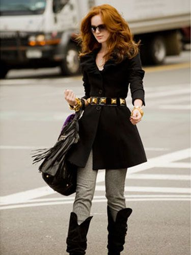 Cop an attitude by introducing your plain black coat to slouchy boots and a studded belt.