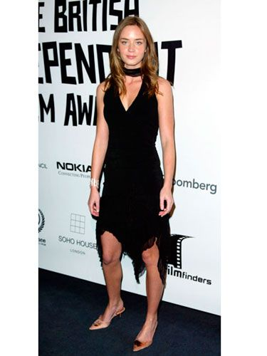 Emily attends the British Independent Film Awards in an edgy halter dress with an asymmetrical hem.