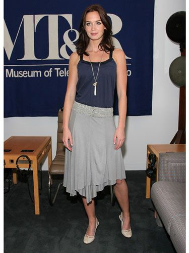 A jersey skirt and ladylike flats dress up Emily's casual look.