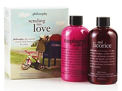 """Pamper your body from head to toe with this raspberry sorbet and red licorice-scented duo. Philosophy Sending My Love set, $20, available at <a href=""""http://www.philosophy.com/value-sets-valuesets/sending-my-love-product"""" target=""""_blank"""">philosophy.com</a>."""