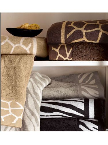 """Add some frisky fare to your bathroom with these ultra-plush towels from Horchow. Safari Towels, $12-18 each, available at <a href=""""http://www.horchow.com/store/catalog/prod.jhtml?itemId=cprod61880013&ecid=HCCIGoogleFeed&003=5841029&010=H4LS5&ci_src=14110944&ci_sku=H4LS5"""" target=_blank"""">horchow.com</a>."""