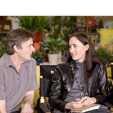 <i>Confessions</i> series author Sophie Kinsella was on-set nearly every day as both associate producer and consultant to make sure her beloved Becky was translated correctly from the book to the big screen. Here, she collaborates with director P.J. Hogan.