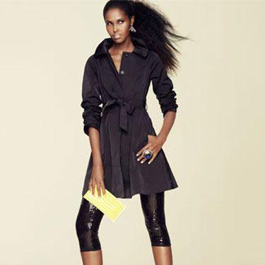 <b>a trench coat as  a dress.</b><br /><br /> Coat, Theory, $495&#x3B;  leggings, BB Dakota, $90&#x3B; shoes, Prada&#x3B; clutch,  Anya Hindmarch, $295&#x3B;  earrings, Kendra Scott, $112&#x3B; ring, Versace