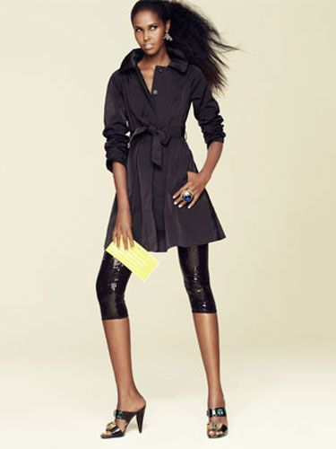 <b>a trench coat as   a dress.</b><br /><br />   Coat, Theory, $495;   leggings, BB Dakota, $90;  shoes, Prada; clutch,   Anya Hindmarch, $295;   earrings, Kendra Scott,  $112; ring, Versace