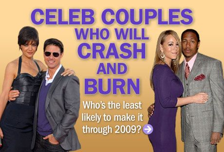 Some surprised us (Madonna and Guy Ritchie), while we practically put money down on the demise of others (Paris Hilton and Benji Madden). We asked you which famous pair you think will call it quits in 2009, and the results are IN! Here are the couples you think are sure to split.