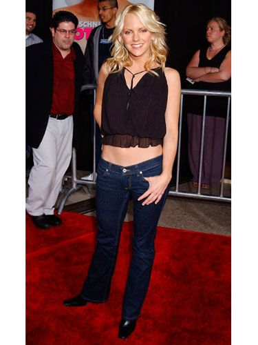 Anna dressed up basic denim with a sexy (and tiny!) black top at a screening of  <i>The Hot Chick.</i>
