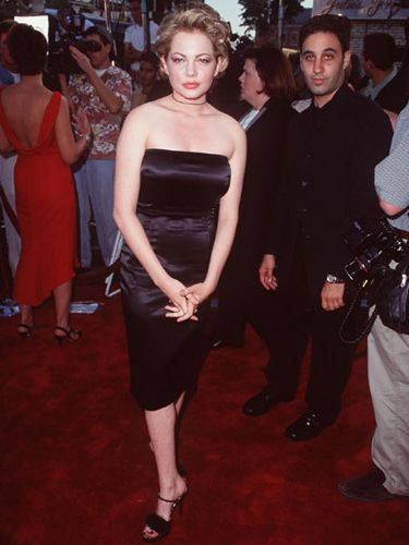 In a sultry strapless LBD, Michelle channeled the vibe of Jen Lindley, the bad girl she played on <i>Dawson's Creek</i>.