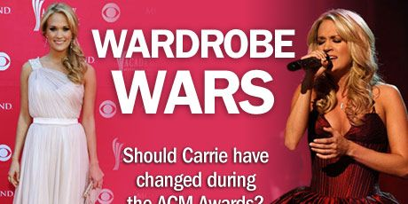 Carrie began the night in a barely-pink Randi Rahm gown and a perfectly side-swept pony.
