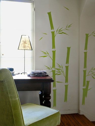 "Blik Surface Graphics (<a href=""http://www.whatisblik.com"" target=""_blank"">whatisblik.com</a>) offers decals in a variety of patterns — flowers, bamboo shoots — that stick right to your wall and start at $18. They're perfect for renters because you can just peel 'em off when it's time to move."