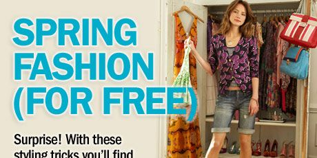 With a wide belt, last year's bright sack dress becomes less muumuu, more <i>Whoa, look at you.</i> <br /><br /><b>Dress, Plastic Island, $158; belt, Bebe, $98; shoes, Casadei; necklace, Tori Spelling, $89.95; bracelet, Versace</b>