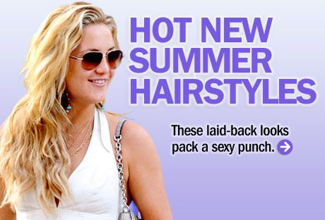 "Kate Hudson's tousled style is sexy year-round, and now you have the warm, humid air to help enhance your natural texture. To get the look, divide damp hair into three sections and loosely braid each. Unravel your locks when they're dry, then set your waves with a texturizing spray, like <a href=""http://www.fekkai.com/products/marine-hair/beach-waves"" target=""_blank"">Fekkai Marine Summer Hair Beach Waves</a>."