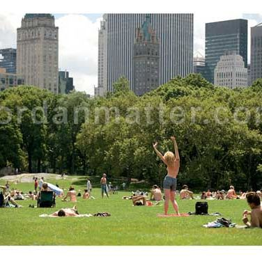 """A: """"The majority of New Yorkers and tourists were very accepting of it. Police couldn't do anything since it was legal, other than cite public disturbance…but rarely was anyone actually disturbed. The book became less political and much more about the empowerment that the women would feel. The photo subjects found the option of not covering up to be incredibly liberating."""""""