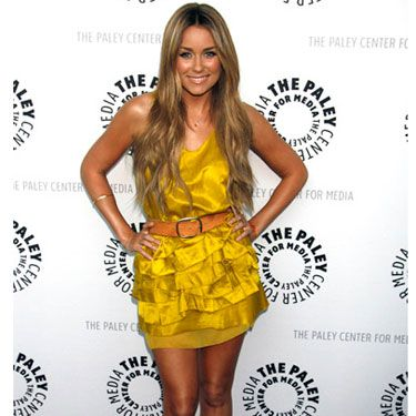 LC struck gold in a frilly yellow number that showed off her gorgeous legs.