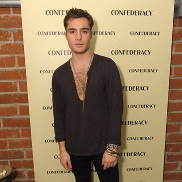 """First of all, the words """"he"""" and """"cleavage"""" should never be in close proximity. While we desperately want to be repulsed by this look, Ed Westwick — damn him — somehow manages to pull it off. Yes, even with that stupid necklace nestled between his chesticles, Mr. Chuck Bass gets a pass. But remember: <strong>He is the sole exception</strong> to the no-heavage-allowed rule."""