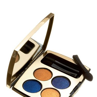 """Ultrarich — use the dark shades for lining and light ones in creases. <br /><br /><a href=""""http://beauty.hsn.com/lancome-color-design-liberty-palette-eye-shadow-quad-indigo-charm_p-5656515_xp.aspx"""" target=""""_blank"""">Lancôme Color Design Liberty Palette in Indigo Charm</a>, $42"""