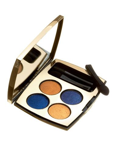"Ultrarich — use the dark shades for lining and light ones in creases.   <br /><br /><a href=""http://beauty.hsn.com/lancome-color-design-liberty-palette-eye-shadow-quad-indigo-charm_p-5656515_xp.aspx"" target=""_blank"">Lancôme Color Design Liberty Palette in Indigo Charm</a>, $42"