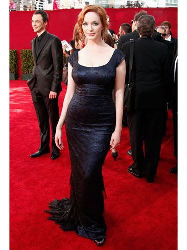 """Host Neil Patrick Harris joked that the <i>Mad Men</i> actress could """"turn a gay man straight."""" We totally agree. Christina rocked her curves in a custom lace gown by L'Wren Scott."""
