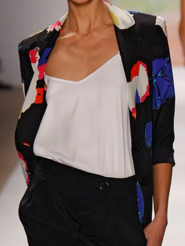"""""""This enlarged floral print incorporates color into the look."""" —Amy Smilovic<br /><br />  <b>Tip:</b> The patterned piece doesn't always have to be an underpinning. For a fresh take on the tailored look, replace your basic blazer for one in a bold print. To pull off a busy jacket, keep the rest of your look low-key with solid colors and simple cuts."""