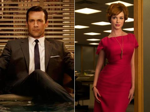 """With all the cheating going on in the Sterling Cooper office, it's kind of amazing that we haven't seen these two get steamy. Just picture sexpot Joan sassing Don as he seduces her into a tryst on his Mid-Century Modern sofa.<br><br>Check out Esquire's steamy photo shoot with <a href=""""http://www.esquire.com/women/women-we-love/christina-hendricks-photos-0909"""" target=""""_new"""">vixen Christina Hendricks</a>."""