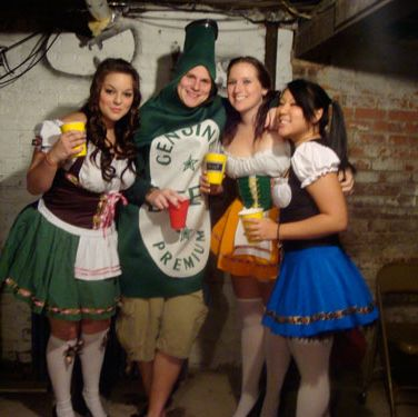 <p>Since it's every guy's fantasy to be surrounded by busty beer maids, we hope he played beer bitch all night. </p> 