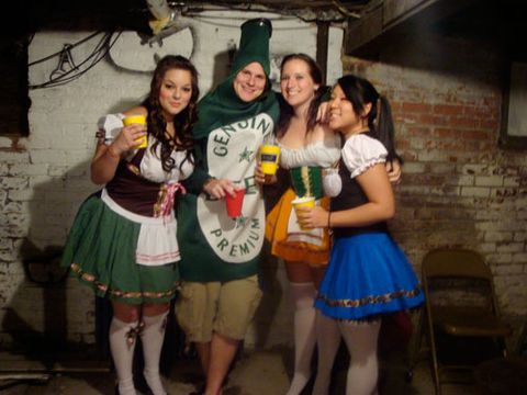 <p>Since it's every guy's fantasy to be surrounded by busty beer maids, we hope he played beer bitch all night. </p>   <p><p><b>Submitted by Emily Curreri</b></p></p>