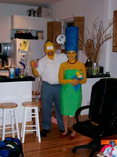 <p>From the yellow body paint to the details like the Duff beer and sky-high hair, it's clear this couple goes big.</p>  <p><p><b>Submitted by Hilary Goldman</b></p></p>
