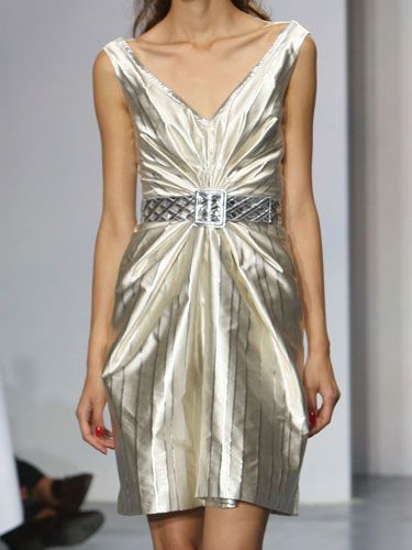 """""""The metallic stripes are gracefully seductive, and the texture enhances the feminine silhouette."""" —Luisa Beccaria   <br /><br /><b>Tip:</b> Metallics don't have to look flashy. If you find a style that's softer and more feminine, you can have the shine without looking like a disco ball."""