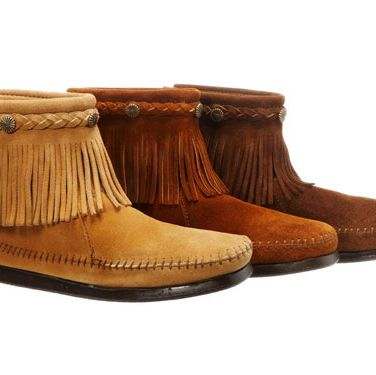 "Rock these kicks with bare legs while it's warm. Switch to skinny jeans once the temp drops. <br /><br />Bootees, Minnetonka, $44.95 per pair, <b><a href=""http://www.moccasinhouse.com/"" target=""_blank"">moccasinhouse.com</a></b>"