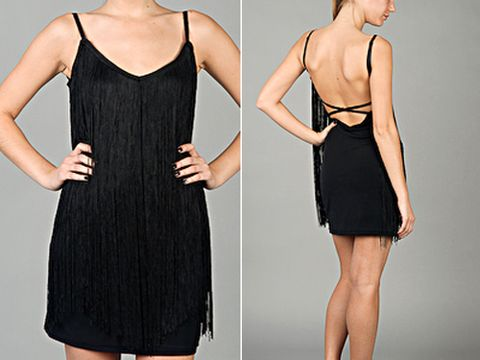 "$72; <a href=http://www.edressme.com/ target=""_blank"">edressme.com</a><br /><br /> The flirty flapper look is back this fall with the return of fringe."