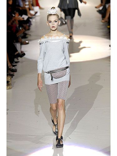 Bike shorts are in (yes, you read that right) and look really hot with a loose, off-the-shoulder top. Here, Marc Jacobs creates a sexy look that is equal parts Sporty and Posh. Wear the darker shade on the bottom, as it will have a slimming effect.