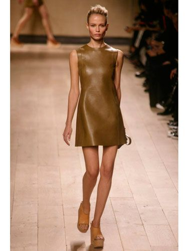 Designer Phebe Philo's first runway collection for Celine included lots of luxe leather. The minimal accessories let the beautifully sculpted skin take center stage.