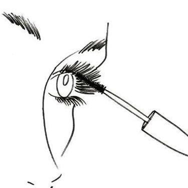 Take a creamy mascara, and hold the wand at the base of your lashes. Wiggle slightly from side to side, then brush straight up through the ends of lashes. Apply two or three coats to each eye, allowing about two minutes to dry in between.