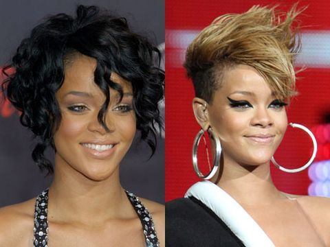 "RiRi's never been timid about experimenting with her hair—it's been long, supershort, asymmetrical, streaked, bobbed. And as the smoke from the Chris Brown firestorm started to clear in mid-2009, she emerged with a style that's usually reserved for punk dudes and assorted <i>America's Next Top Model</i> contestants: a Mohawk. Some said she was channeling Woody Woodpecker, but we think they're just jealous of her seriously badass do. <br /><br /><strong>Her mane message:</strong> ""<i>Rated R</i>…for ridiculously awesome hair."""