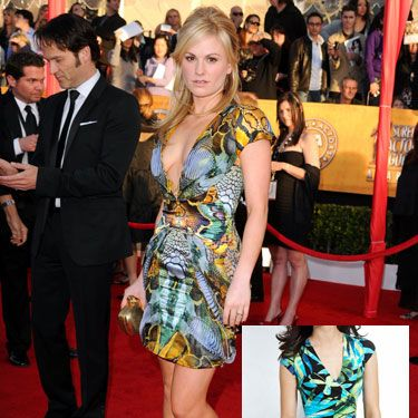 <p>Anna took the plunge in this futuristic animal print Alexander McQueen mini. The bright mix of colors and V-neck accentuate all the right curves. We have no idea how her fiancé, <i>True Blood</i> costar, and Cosmo Fun Fearles Male Stephen Moyer was able to look away.</p>