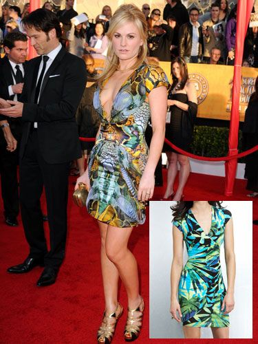 "<p>Anna took the plunge in this futuristic animal print Alexander McQueen mini. The bright mix of colors and V-neck accentuate all the right curves. We have no idea how her fiancé, <i>True Blood</i> costar, and Cosmo Fun Fearles Male Stephen Moyer was able to look away.</p>  <p><strong>Get her look</strong>: Palm Print Wrap Dress, <a href=""http://www.cache.com/cache/control/product/~category_id=0100/~product_id=05343A70250096"" target=""_blank"">Cache</a>, $98</p>"