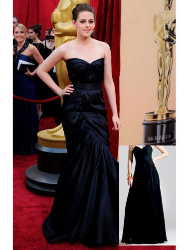 "<p>For her first Oscars, Kristen rocked a sophisticated mermaid gown that took the <i>Twilight</i> star from teen sensation to glamour queen. The sweetheart neckline and figure-flattering color make for a dress that's elegant enough for a black tie event and sexy enough to keep all eyes on you.</p> <p><strong>Get her look</strong>: Castaway Gown in Midnight Blue, <a href=""http://www.shopdress.com/Detail.bok?no=5274&view=1"" target=""_blank"">ShopDress</a>, $256</p>"