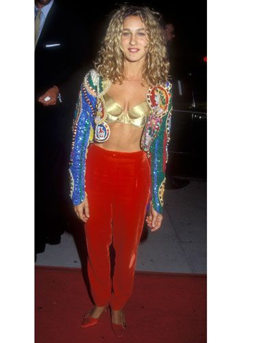"""With her velvet gypsy pants, exposed gold bra, and multicolored blazer, the young star discovered the """"Genie in a Bottle"""" style way before Christina Aguilera."""