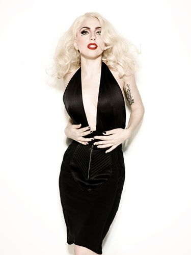 40fc2109e1a Lady Gaga does Old Hollywood in this very deep V-neck Jean Paul Gaultier  gown
