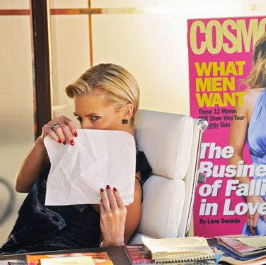 """The stunning Jaime Pressly plays the part of Cosmo's Editor-in-Chief in <i>Beauty & the Briefcase</i>. Check out <a href=""""http://www.cosmopolitan.com/celebrity/exclusive/beauty-and-the-briefcase"""" target=""""_blank"""">The Truth Behind <i>Beauty & the Briefcase</i></a> for revealing info about how the movie's portrayal of Cosmo stacks up with reality."""