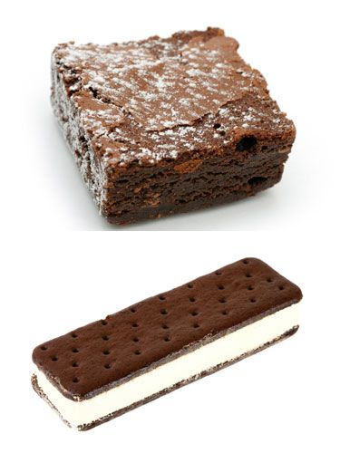 Brownie: 410 calories, 24 grams fat<br /> Ice cream sandwich: 180 calories, 6 grams fat<br /><br /> <strong>Winner: Ice cream sandwich</strong><br /><br /> Neither has any nutritional value, but you'll have a better chance of fitting into your skinny jeans the next day if you snack on the sandwich. Plus, you get that sweet, ice creamy satisfaction.