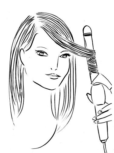 Holding a curling iron vertically near your temple, clamp it to the 1-inch section of hair closest to your face, and rotate the barrel outward. Release after five seconds.